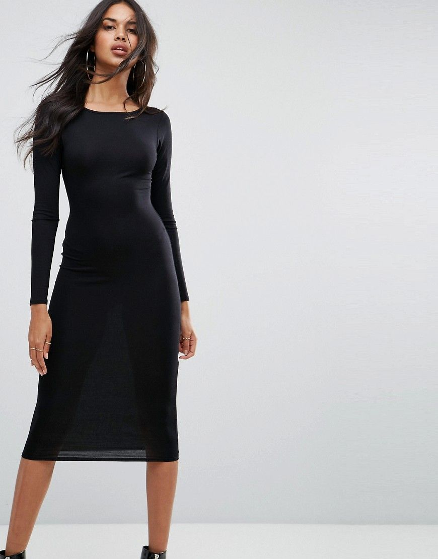 Boohoo long sleeve midi dress black products pinterest products