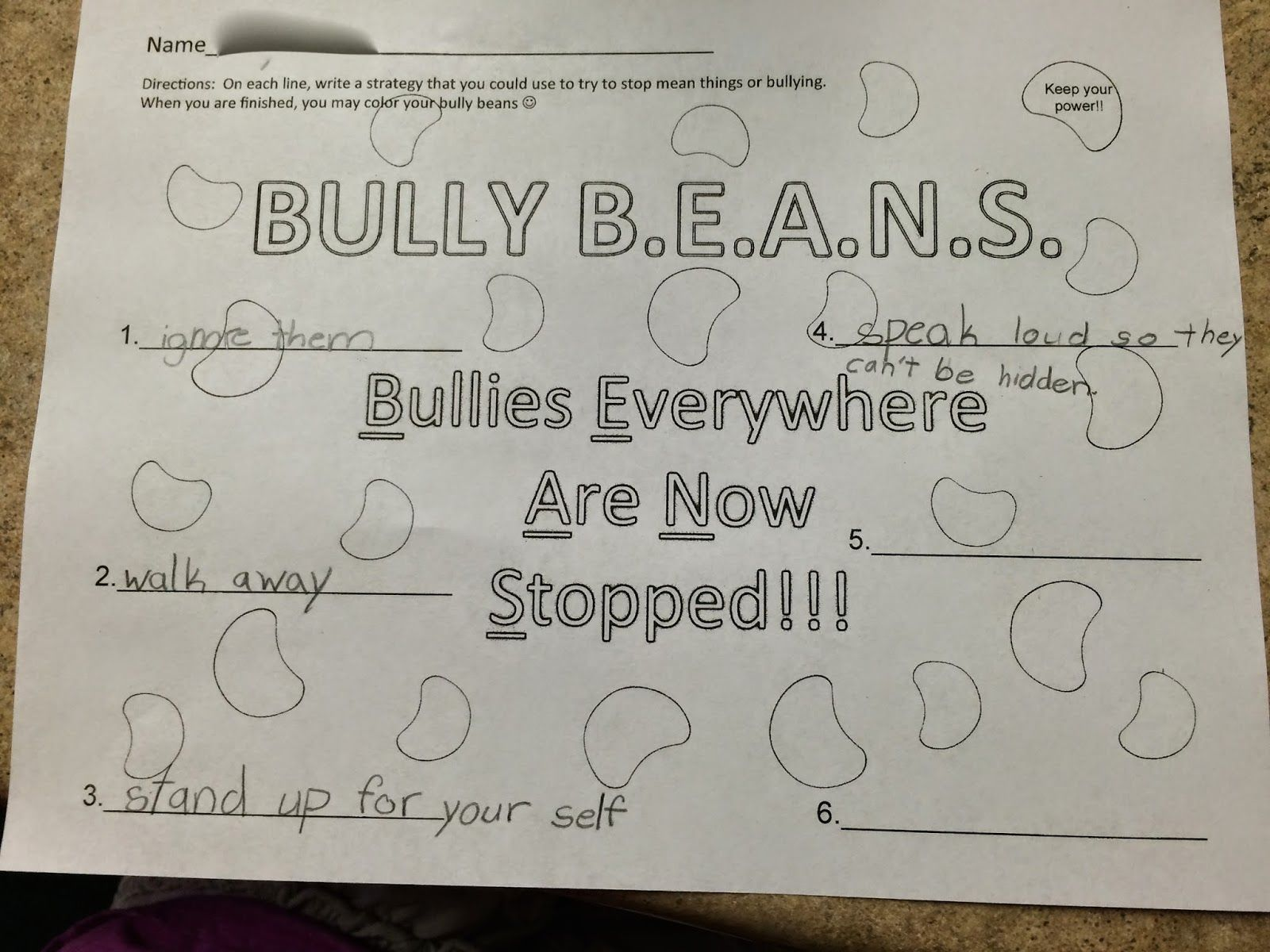 Follow Up To Julia Cook S Bully Beans From Ms Sepp S