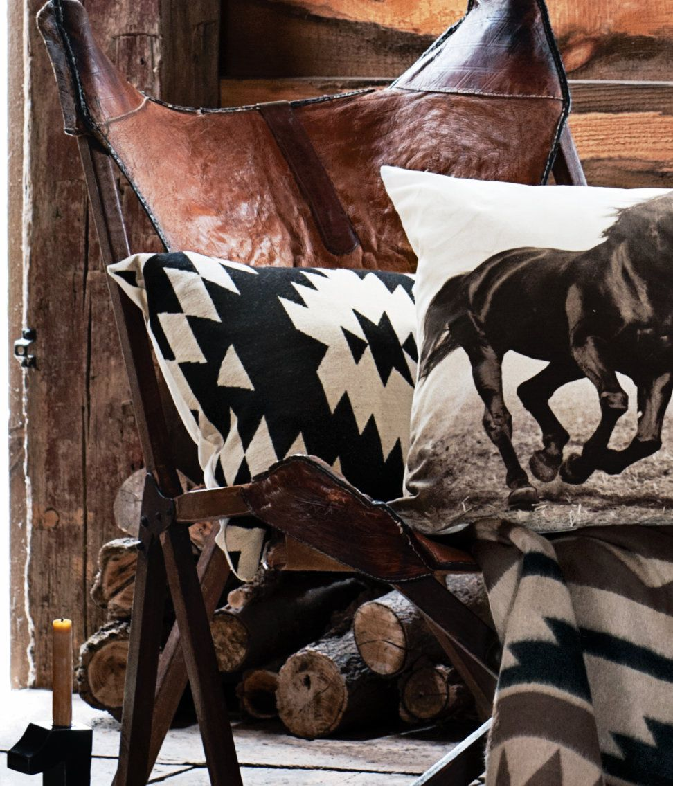 leather folding chair and Navajo pattern cushion at H