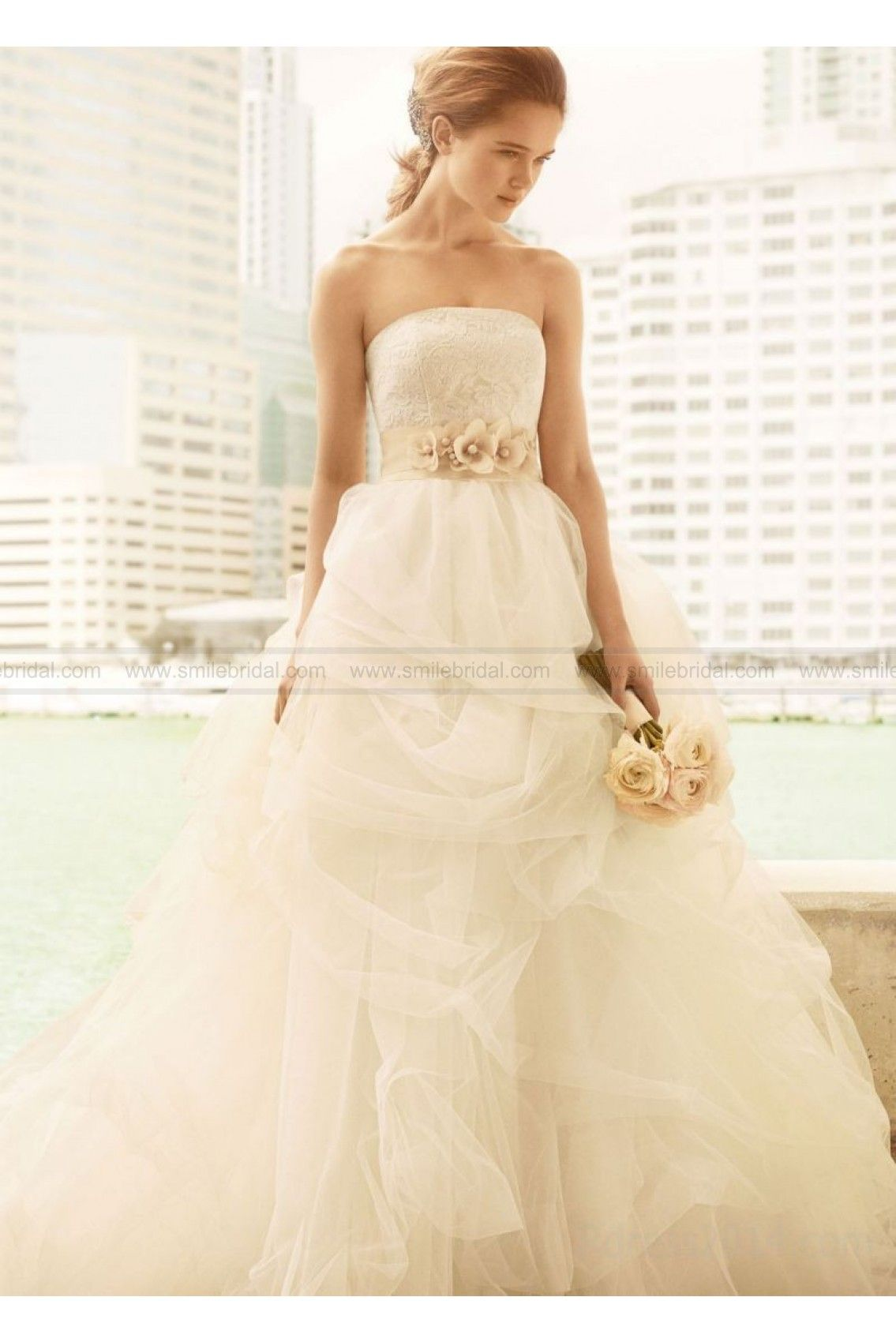 White By Vera Wang Ball Gown With Corded Lace Bodice And Tulle Skirt ...
