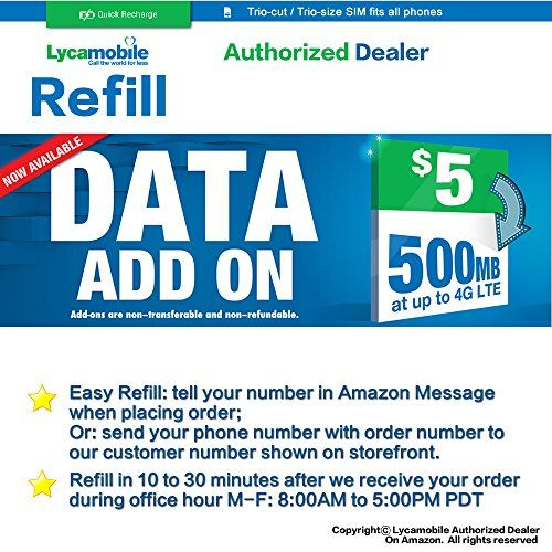 Lycamobile 4G LTE DATA ADDON 5 Add-ons only available with