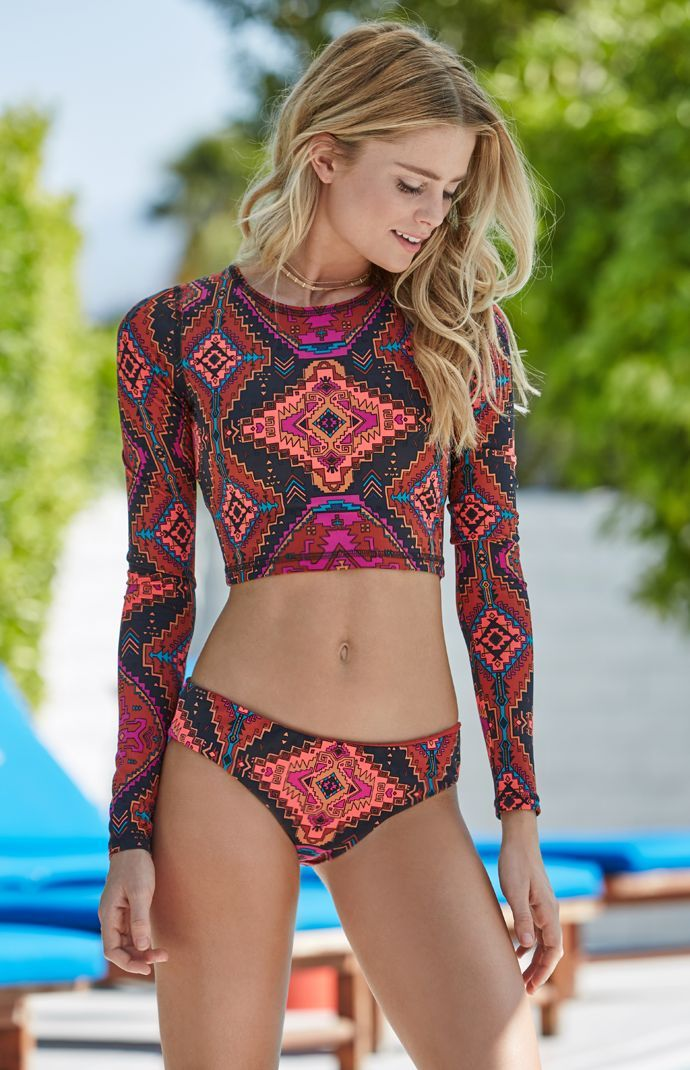 Pacsun I Billabong Gettin Native Tribal Print Long Sleeve Rash Guard ... 155a3f0796de