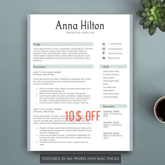 Creative Resume Template for Word and Pages. by VisionTemplates