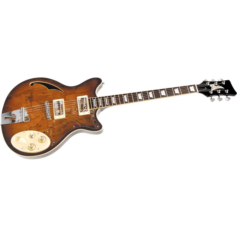 italia lusso ii semi hollow electric guitar tobacco sunburst