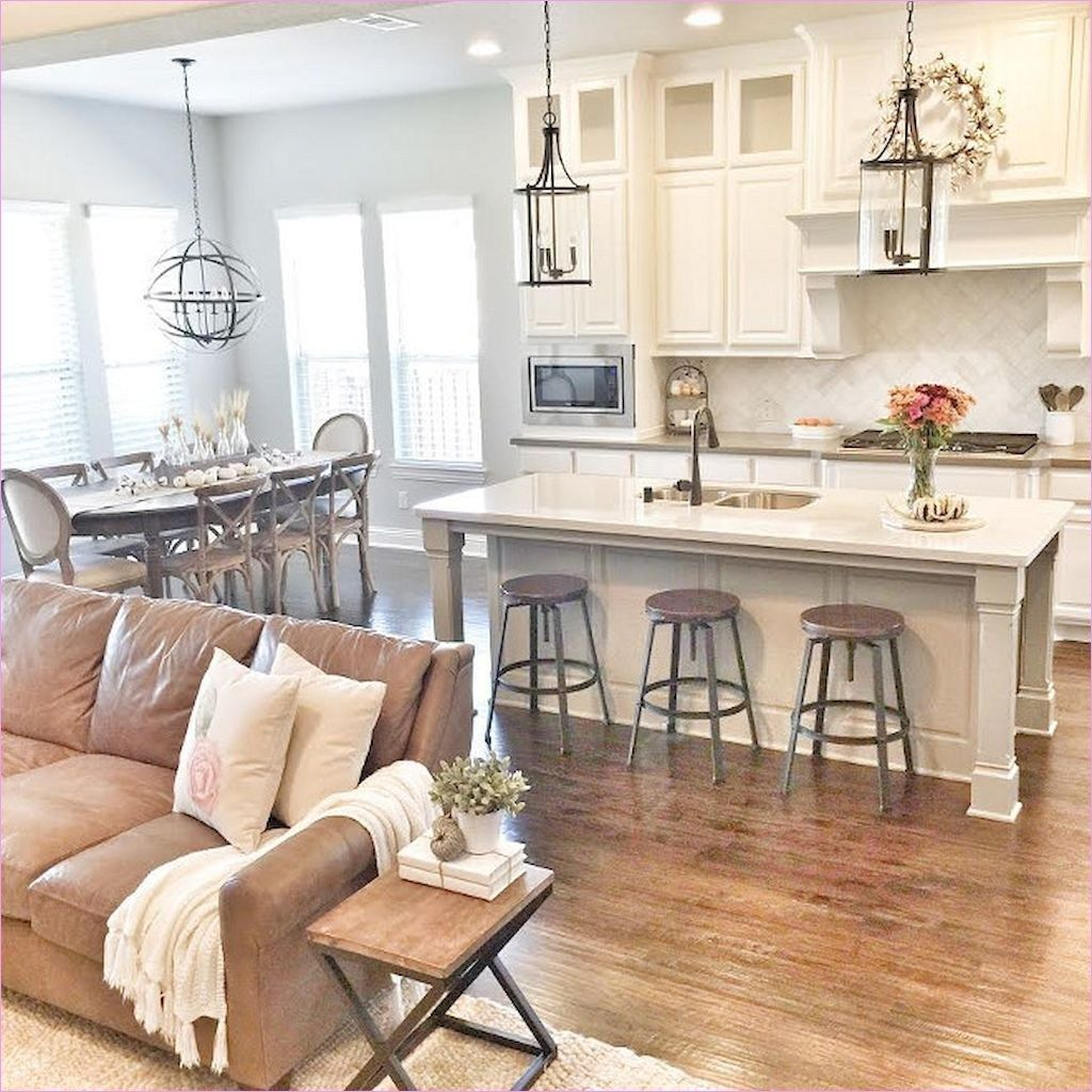 66 Awesome Rustic Farmhouse Living Room Decor Ideas: 46 Stunning Farmhouse Decorating Open Kitchen To Living