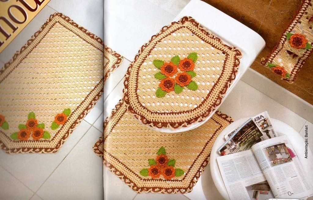 Accessoires de salle de bain au crochet crochet j crochet home crochet patterns e crochet - Accessoires pour salle de bain ...