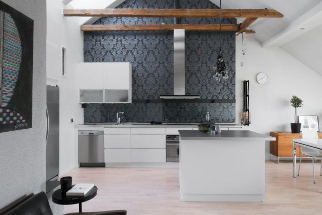 Love the wall paper in the kitchen
