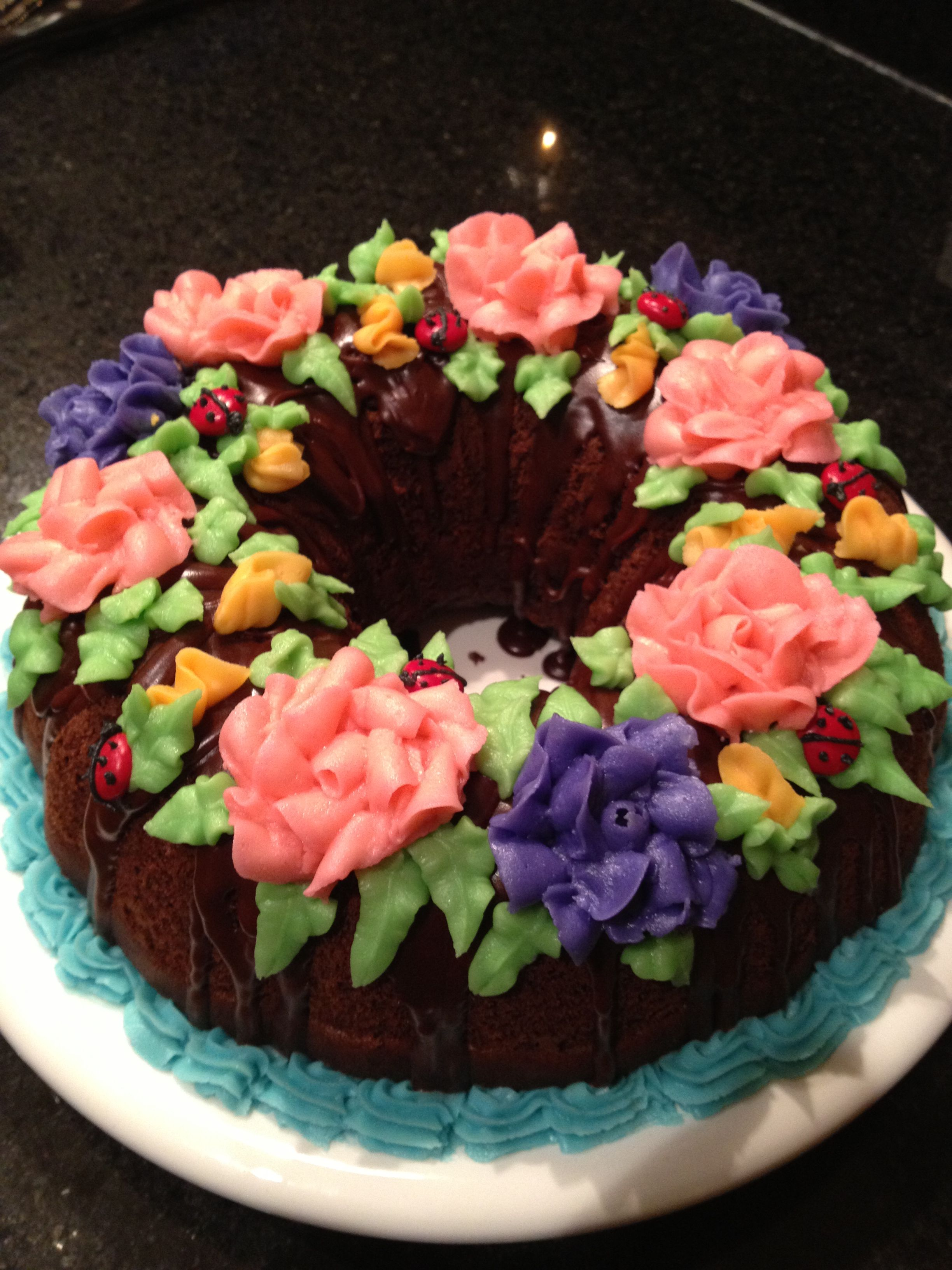 Bundt cake with flowers cake decorating cake bundt cake