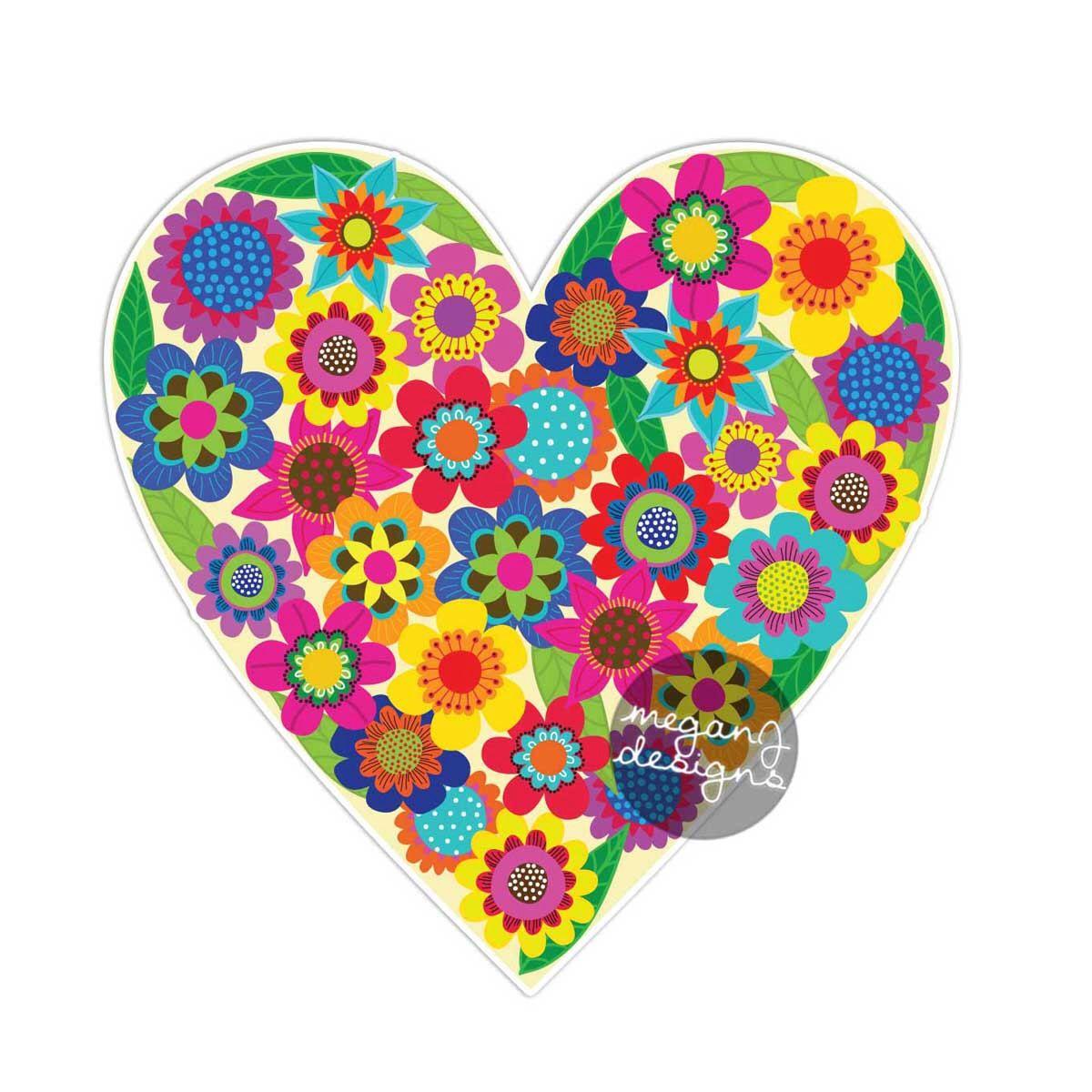 Flower Heart Sticker Colorful Floral Car Decal Laptop Decal Vinyl Bumper Sticker Hippie Heart Love Wall Decal Cute Car Sticker Boho Art Ideias [ 1200 x 1200 Pixel ]