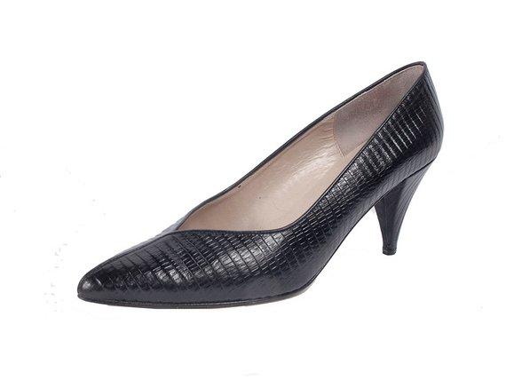 f43c06e6880c0 Vintage 80s Shoes - 80s Black Pumps - Vintage 80s Pumps - Snakeskin ...