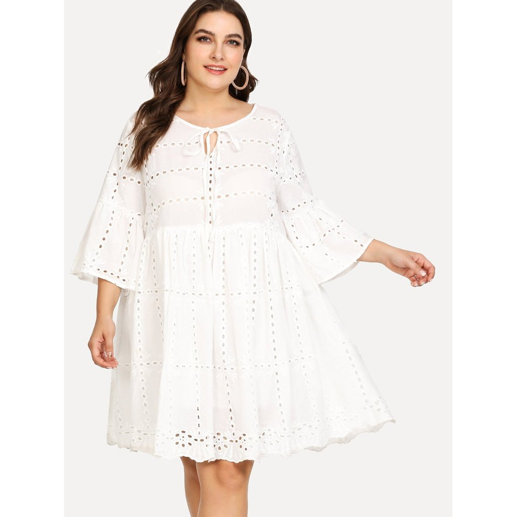 42b72552b0d0 Plus Eyelet Embroidery Tied Neck Smock Dress White in 2018 ...