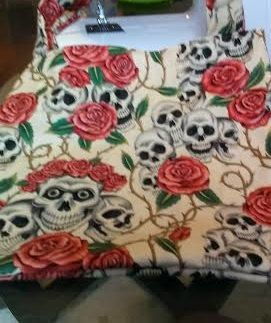Skull and Roses large cream tote bag by RoseCityCrafter on Etsy, $20.00