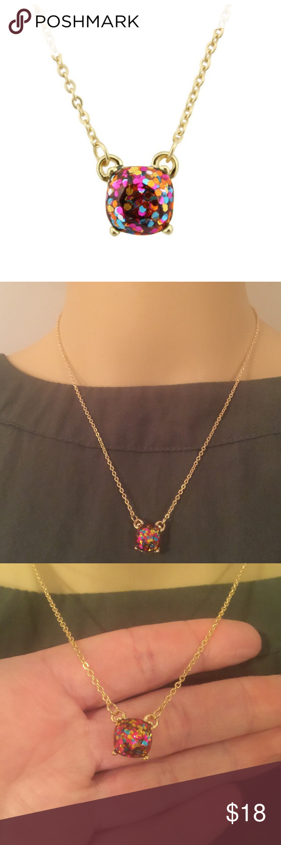 "Rainbow glitter necklace (new) Glitter stone with gold plated chain, also selling matching earrings. Chain measures 18"" with a 2""extender Jewelry Necklaces"