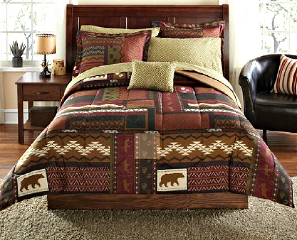 log cabin boulder a comforter products fever rustic home creek bedspreads bedding and comforters sets
