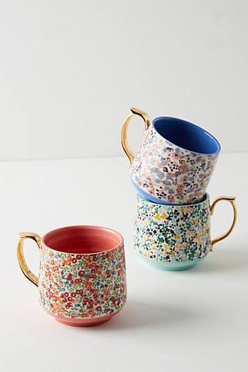 Anthropologie Gardenshire Mugs, Set of 4   Bemalte