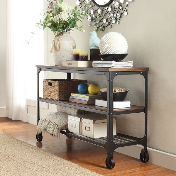 Nelson Industrial Modern Rustic Console Sofa Table TV