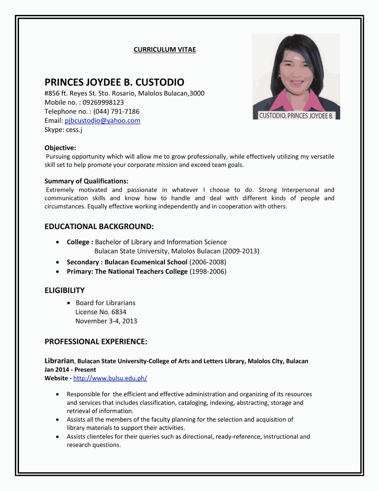 Job Resume Examples Format
