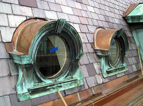 Round Copper Top Dormer Google Search Slate Roof Dormer Roof Roof Architecture