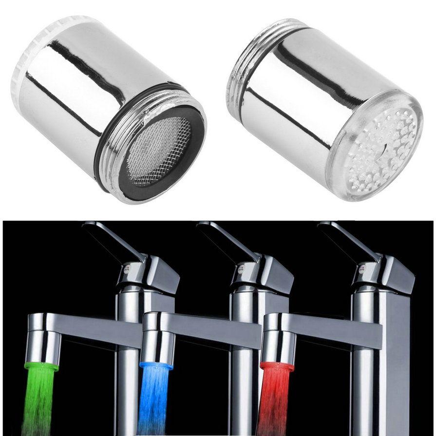 3 Kleur LED Light Change Kraan Douche Water Tap Temperatuursensor ...