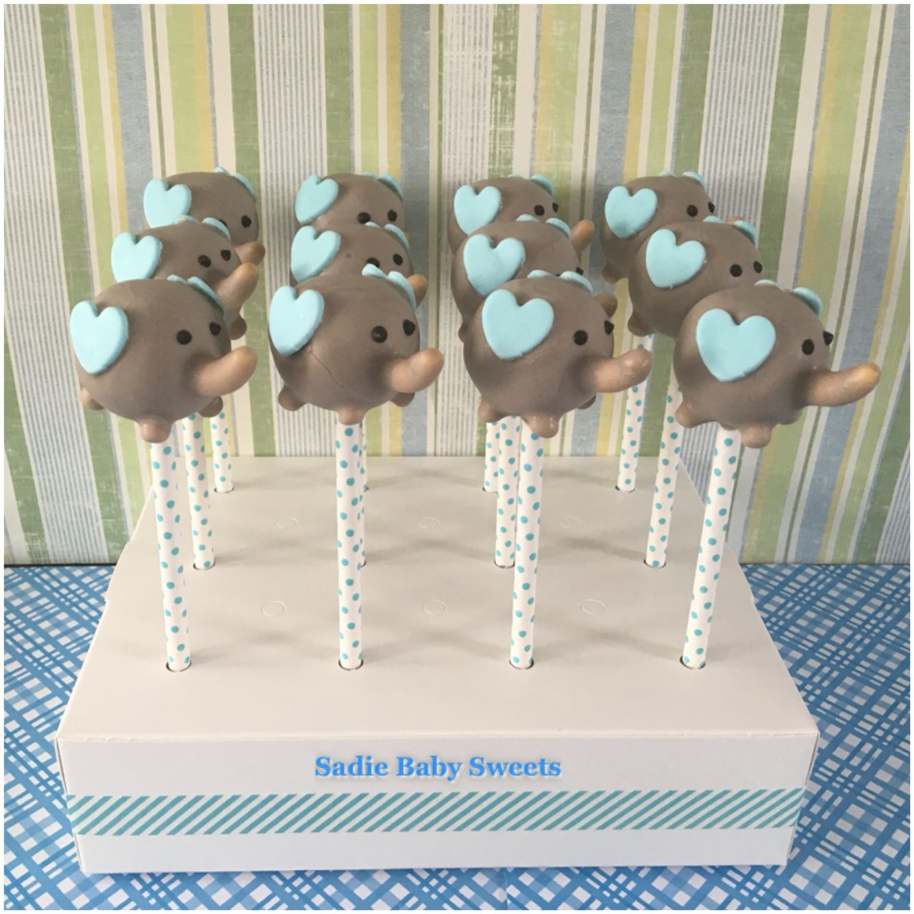 Elephant Cake Pops For A Baby Boy Shower With Images Baby