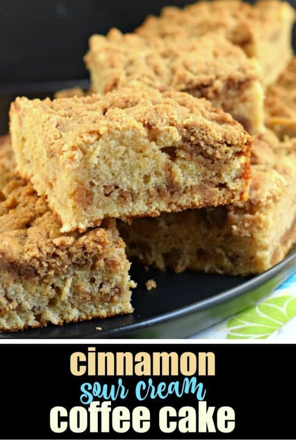 This Cinnamon Sour Cream Coffee Cake is a tender cake filled with a ...