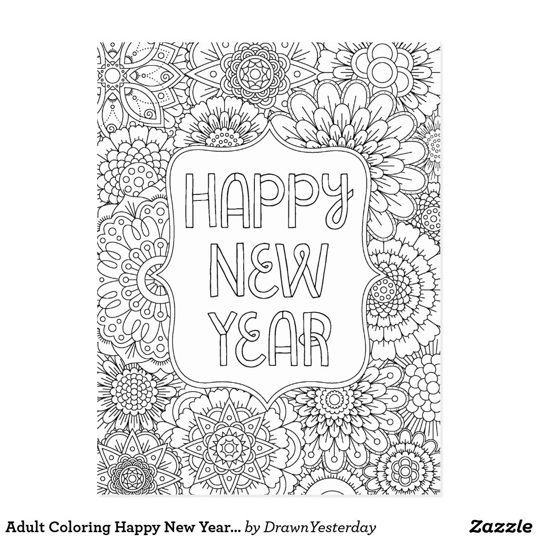 Adult Coloring Happy New Year Postcard
