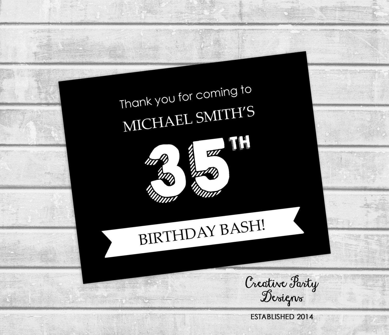 35th Birthday Thank You Card Milestone Birthday Thank You Note Black And White Thank Y Birthday Thank You Notes Birthday Thank You Birthday Thank You Cards