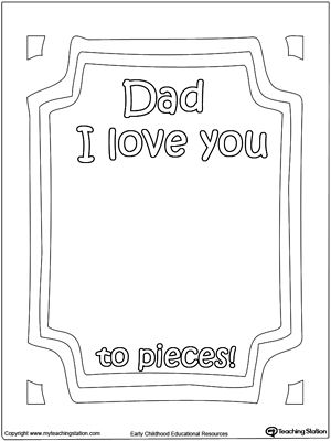 Dad I Love You To Pieces Printable Page Social Studies Worksheets Love You To Pieces Kindergarten Social Studies