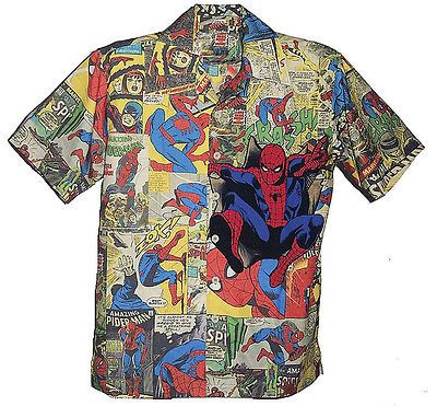 abe4278f Marvel Comics Spiderman Button Down Hawaiian Camp Shirt in 2019 ...