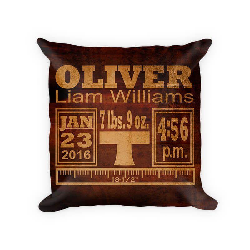 Baby Boy Birth Announcement II Woven Cotton Pillow