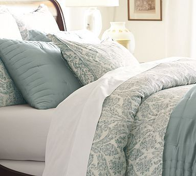 Samantha Damask Cotton Sham Euro Blue Organic Duvet Covers