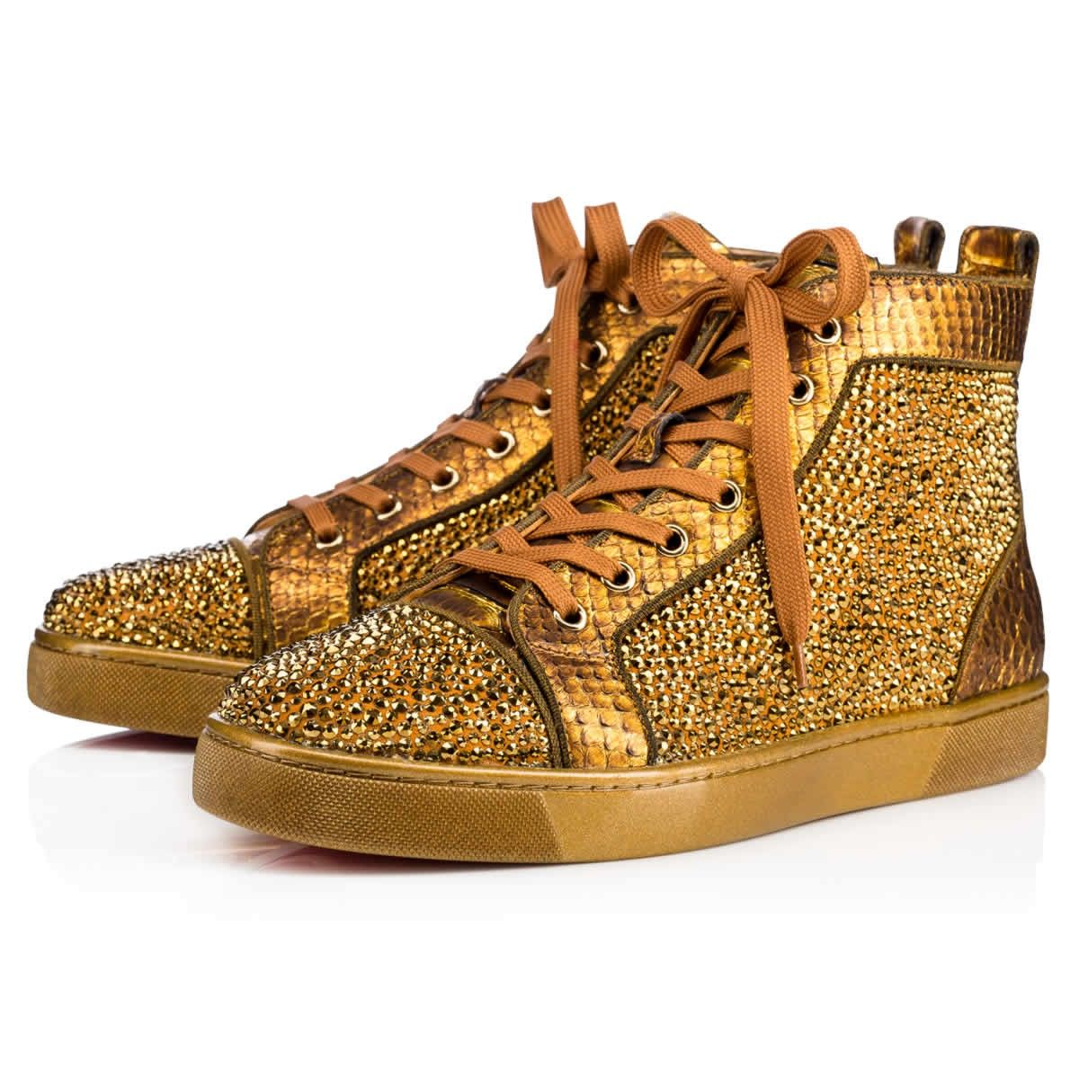 5d6b73cfe5fc CHRISTIAN LOUBOUTIN LOUIS VEAU VELOURS PYTHON PAVE STRASS Antic Gold Python  - Men Shoes - Christian Louboutin.  christianlouboutin  shoes