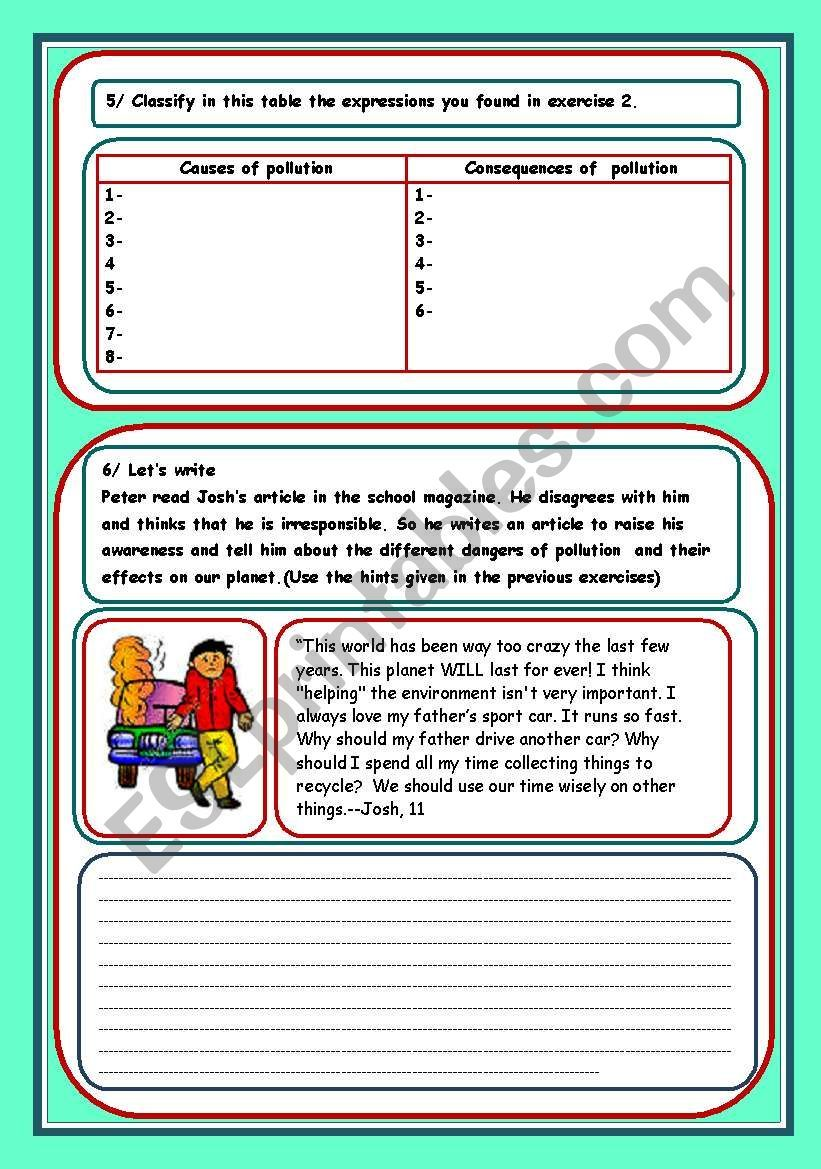 Pollution 3 Pages Worksheet Pollution Activities Worksheets Pollution Vocabulary Worksheets [ 1169 x 821 Pixel ]
