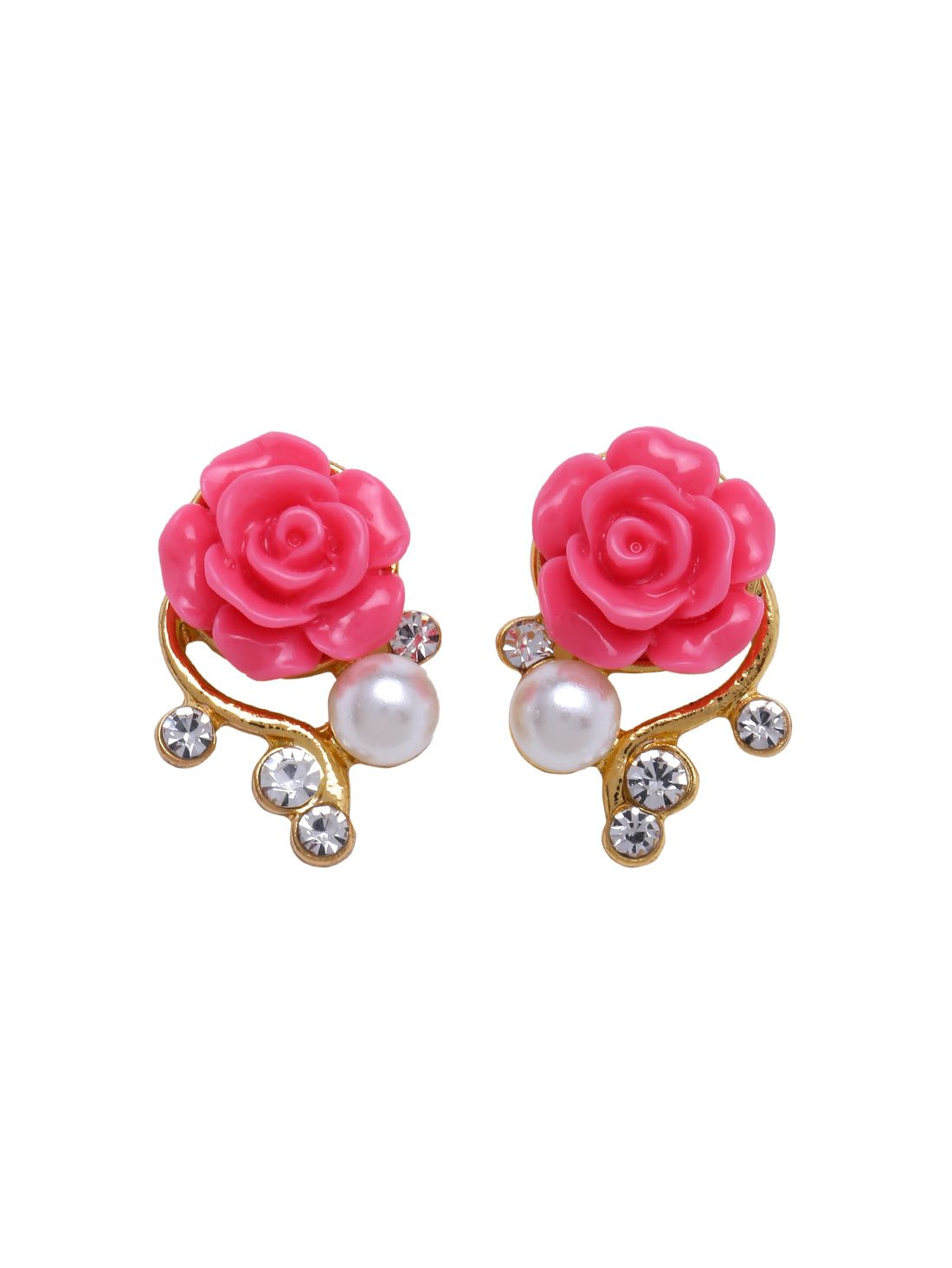 Rose Shaped Artificial Pearl And Diamond Stud Earrings Online Shein Offers More To Fit Your