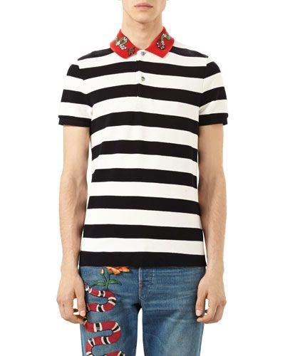 a457cc71b6d Gucci Bee Snake Embroidered Stripe Polo Shirt Black Gucci Cloth