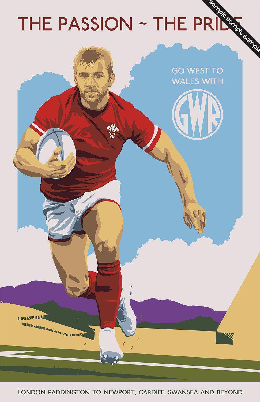 Vintage Transport Poster Pastiche Rugby Union Wales 17 X 11 Digital Print By Designer Illustrator Rugby Poster Transportation Poster Rugby Union Wales