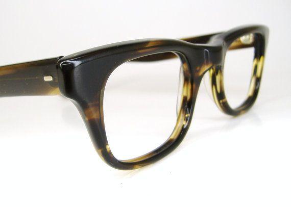 761fa5e4ce Vintage Mens Brown Tortoise Horn Rim Eyeglasses