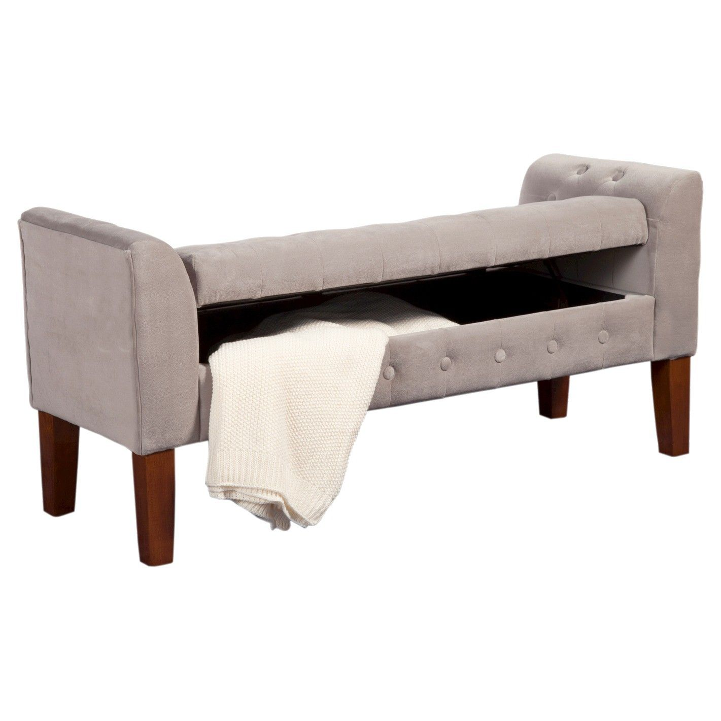 velvet tufted storage settee bench  bed storage storage benches  - end of bed storage bench  grey  target