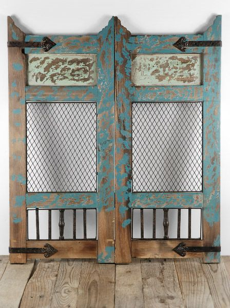 Distressed Wood Wall Décor Accent Panel Turquoise I really want this for my  big, blank kitchen wall! I would hang my apron from one door and clip  recipes to ... - These Distressed Doors Would Make A Breathtaking Backdrop For An