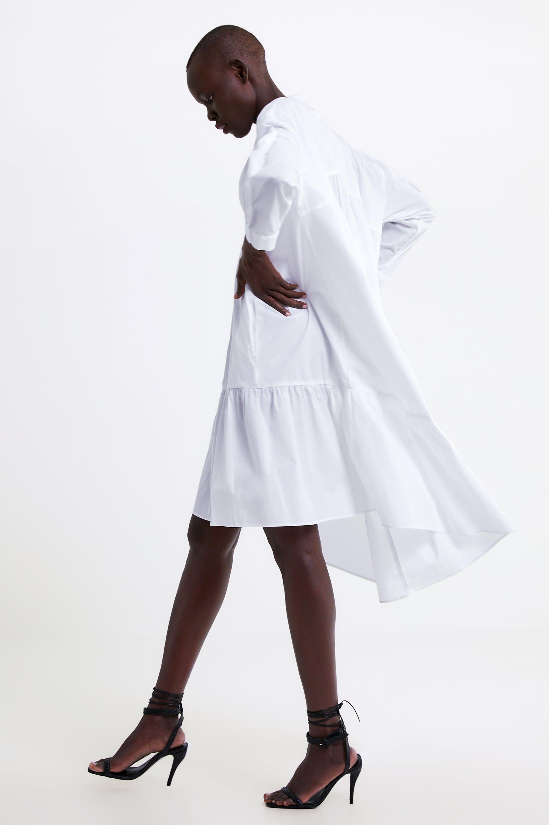 Long Poplin Dress New In Woman Zara United States White Flare Dress Zara Dress White Poplin Dress