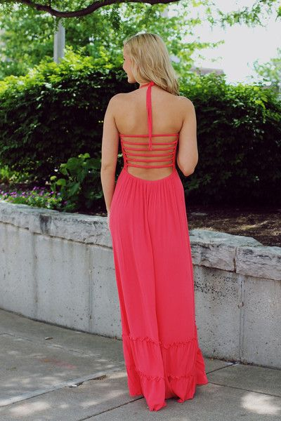 Coral Strappy Open Back Maxi Dress