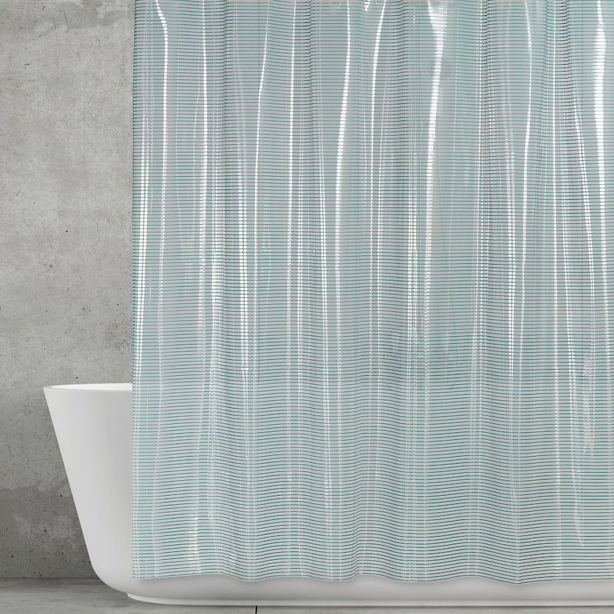 Creative Bath Linea Vinyl Shower Curtain, Blue | Vinyl shower ...