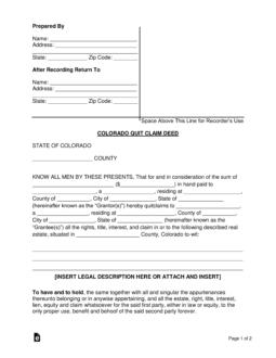quit claim deed form colorado  Free Colorado Quit Claim Deed Form - Word | PDF | eForms ...