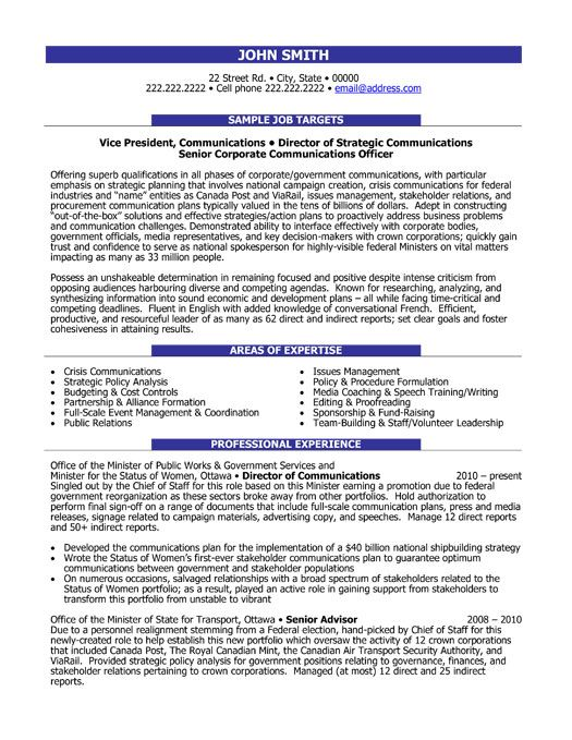 Click Here to Download this Director of Communications Resume - resume for executives