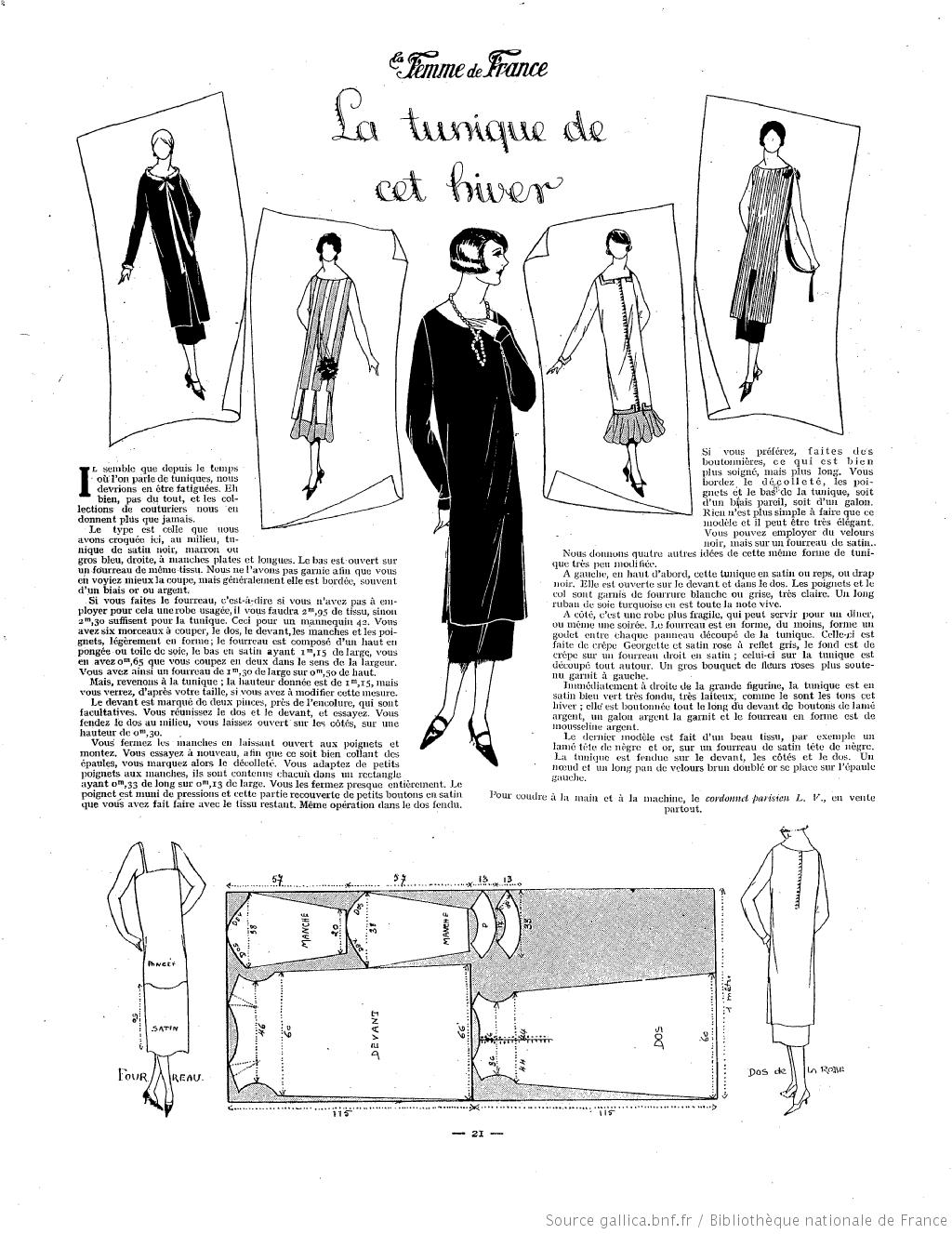 Tunique hivernale (La Femme de France 28/09/1924) | MODA MUJER 1920 ...
