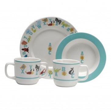 Abc Animal 4 Piece Children S Dinnerware Set Kids Dinnerware Dinnerware Set Dinnerware