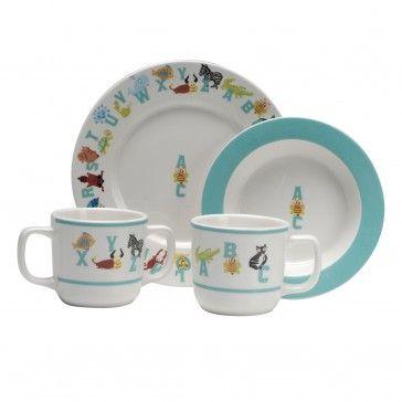 Abc Animal 4 Piece Children S Dinnerware Set Dinnerware Set