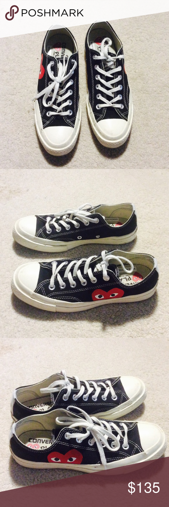 Converse Comme des Garcons CDG black low 6M  8W A quick clean  wash would  make them look brand new. Come w original box. Comme des Garcons Shoes  Sneakers 3f7e5bbb0