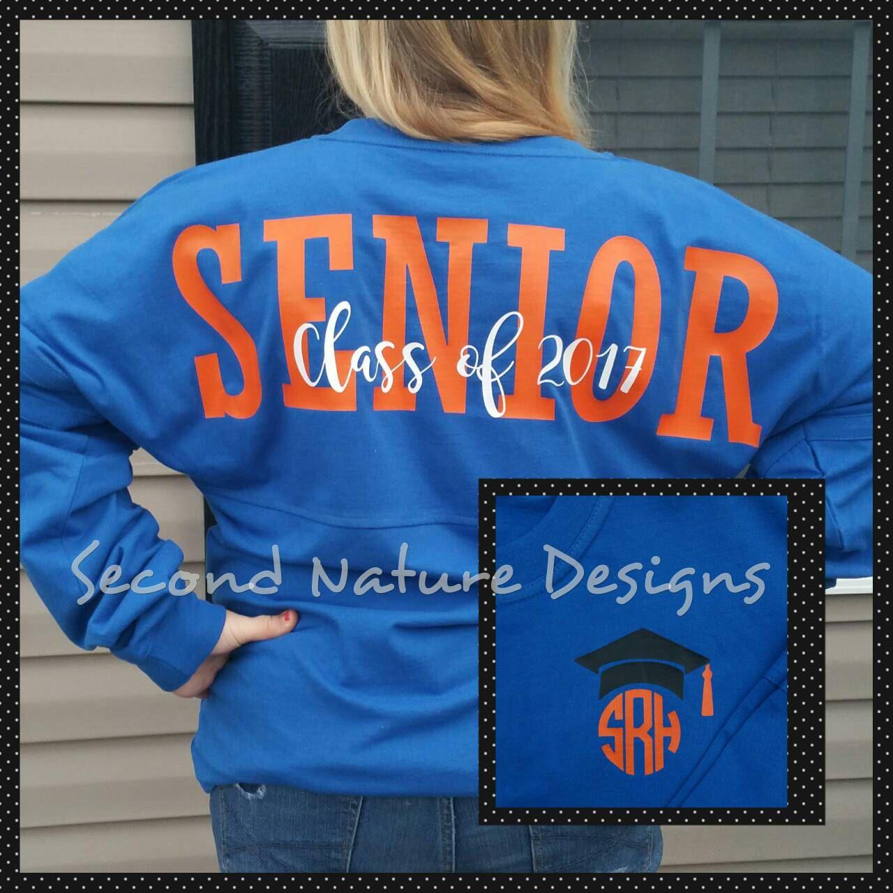 Long Sleeve High School Senior Jersey Shirt College