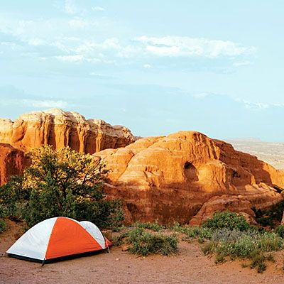 Take a one-minute tour of our favorite spots to pitch a tent, from serene Idaho Lake Country to Utah's red-rock landscapes